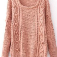 Pink Wool Loose Long Sleeve Thicker Sweater