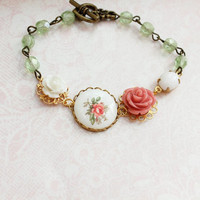 Pink Rose Bracelet, White Rose Cameo, Mint Green Glass Beads, Beaded Cuff, Vintage Flower Cameo, Shabby Chic Spring, Vintage Style Jewelry