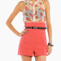 High Waist Belt Shorts in Salmon