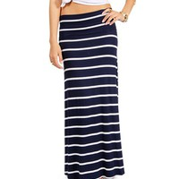 Navy/White Striped Maxi Skirt