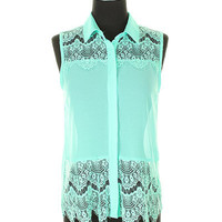 Eyelash Lace Chiffon Tank