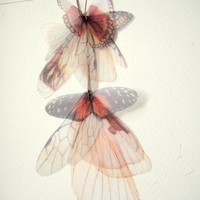 Long Fluttery Cluster Earring  Transfer on Organza by jewelera