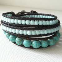 GOOD LUCK ELEPHANT Turquoise Leather Wrap by Jennasjewelrydesign