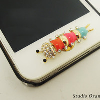 1PC Bling Crystal Caterpillar Warm Apple iPhone Home Button Sticker for iPhone 4,4s,4g, iPhone 5, iPad, Cell Phone Charm
