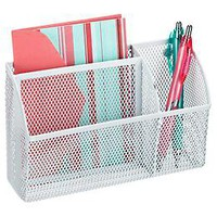 White Magnetic Mesh Organizer Bin