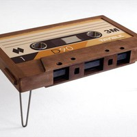 Double Diamond Cassette Tape Coffee Table - Cassette Tape Coffee Table, Mixtape Coffee Table, LED Cup Holders