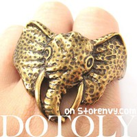Realistic Unique Elephant Animal Double Duo Finger Ring in Bronze