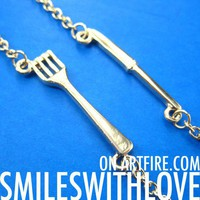 SALE - Miniature Knife and Fork Charm Necklace in Gold 2 Piece Set