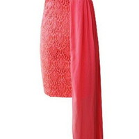 Coral Strapless Mini Lace Dress with Side Drape Detail