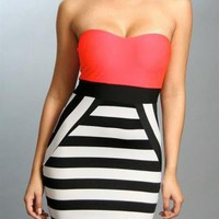Strapless Fitted Dress with Coral Top & Stripe Print Skirt