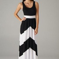 Black Maxi Dress with White Chevron Print &amp; Round Neckline