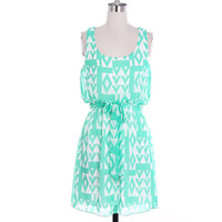 Mint Aztec Sleeveless Dress Cute Aztec Pattern by LemniscateAddict