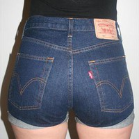Vintage Dark Denim Reworked High Waisted Levis Shorts 501&#x27;s from Beworn