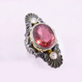 Rubelite Tourmaline and Diamond Medieval Ring in 18ct Gold and Sterling Silver
