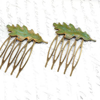 Leaf Hair Comb Oak Leaf Verdigris Green Antique Gold Brass Rustic Woodland Wedding Hair Accessories Pair of Leaves Bridal Accessories