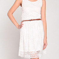 Laced Up Dress in Ivory