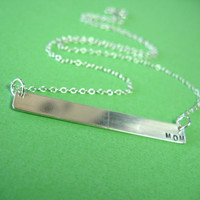 Personalized Silver Bar Necklace - Sterling Silver Modern Necklace