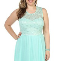 plus size illusion sweetheart neck lace bodice with soft chiffon skirt - 1000045232 - debshops.com