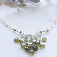 green sterling silver necklace by DesignsByFlory on Etsy