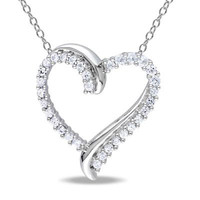 Lab-Created White Sapphire Heart Pendant in Sterling Silver - View All Necklaces - Zales