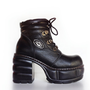 90&#x27;s Rare Cyber Industrial Leather Platform Chunky Heel Ankle Boots // 7