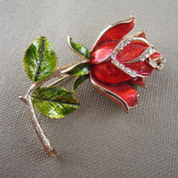 Vintage Red Rose with Rhinestones Flower Brooch