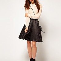 ASOS Full Pleated Midi with Net Skirt at asos.com