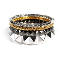 nOir Jewelry: Multi Pyramid Stack Bracelet Set, at 49% off!
