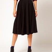 ASOS Midi Skirt In Ponte at asos.com