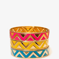 Lacquered Zig Zag Bangle Set