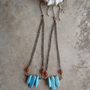 little river ... turquoise and coral stick stone earrings // spike earrings, boho, jewelry