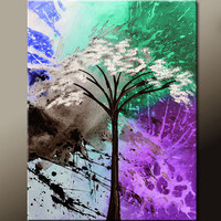 Abstract Canvas Art Painting - 18x24 Contemporary Landscape Original Tree Art by Destiny Womack - dWo - Beauty Amidst Chaos