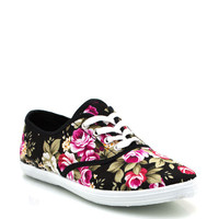 floral-lace-up-sneakers BLACK WHITE - GoJane.com