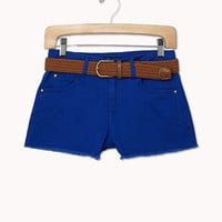 Colored Denim Cutoffs w/ Belt | FOREVER 21 - 2035274166
