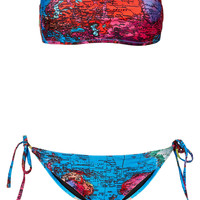 Blue Map Print Bandeau Bikini - Bikini Sets - Swimwear - Clothing - Topshop USA