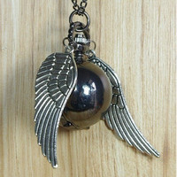 Harry Potter Golden Snitch WATCH necklace silver Double side wings, Cute Black ball