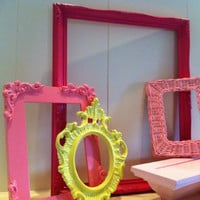Nursery Decor, Vintage Frames, Baby Room Decor, Pink Wall Shelf Ledge, Upcycled, Painted Frames, Ornate Wall Shelf Ledge