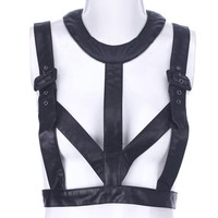ROMWE | Black Fake Leather Strap Top, The Latest Street Fashion