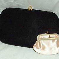 Vintage 60s Black Velvet & Pink Satin Clutch Handbag MOD Gold Snake Chain Handle 50s MADMEN