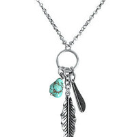 Lucky Brand Necklace, Silver-Tone Semi-Precious Turquoise Feather Charm Necklace - Fashion Necklaces - Jewelry & Watches - Macy's