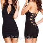 Black Sexy Fashion Club Tight V Neck Dress