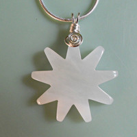 White Jade Star Pendant, Wire Wrapped Handmade Jewelry