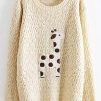 Beige Super Adorable Cartoon Giraffe Loose Pullover SweaterB