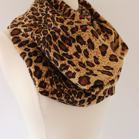 Infinity Scarf Leopard Cheetah Pashmina- Handmade Brown Black Loop, Circle, Infinity Chunky Scarf - Year Round Fashion