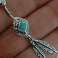 Native American Belly Button Navel Ring w Turquoise, fbn299tq