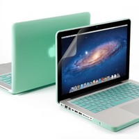 Robin Egg Blue Turquoise Matte Rubber Coated See-Thru Hard Case Cover
