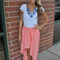 High Low Frolick Skirt PEACH - Modern Vintage Boutique