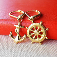 Nautical Dangle Earrings - Anchor and Ship Wheel Earrings - Brass Nautical Earrings - Summer Earrings