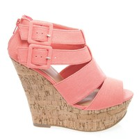 Result Strappy Cage Buckle Zip Back Ankle Strap Cork Platform Wedge Sandal