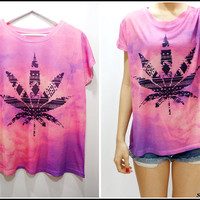 Weed Printed Tie-Dye Top -Pink/Purple